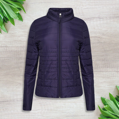 Ladies Collared Bubble Navy Jacket