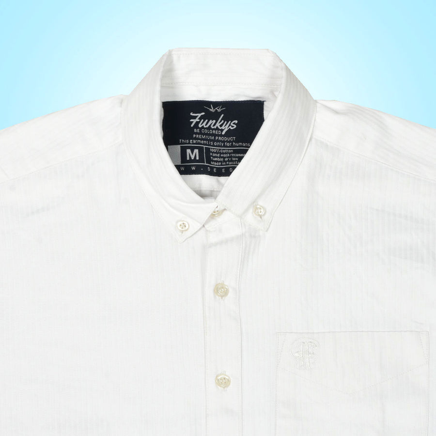 Funky's Oxford Candy Stripe White Shirt