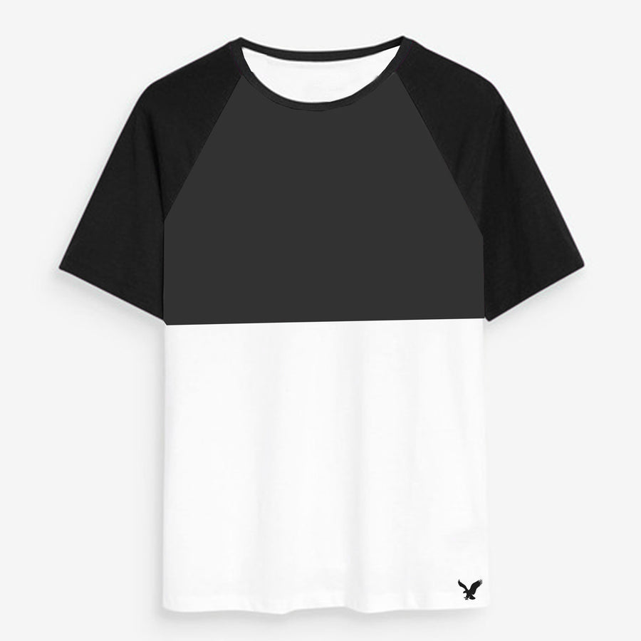 Color block Raglan sleeves Grey/White Tees