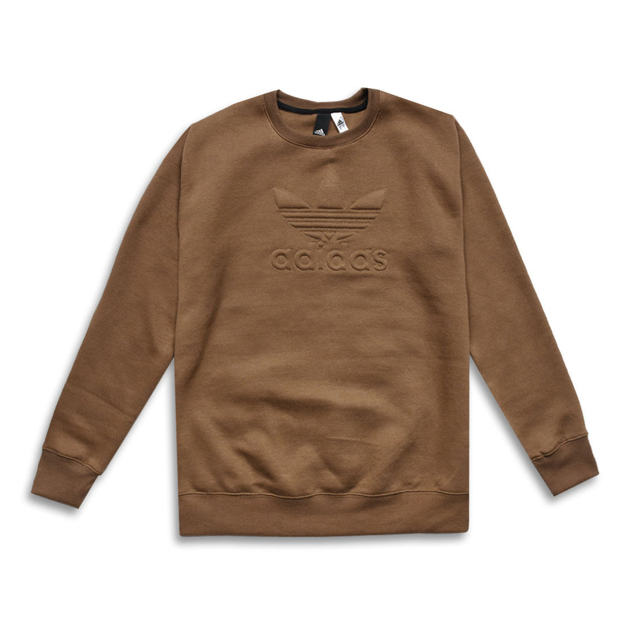 ADS Embossed Logo Crew Neck Sweatshirt in Brown