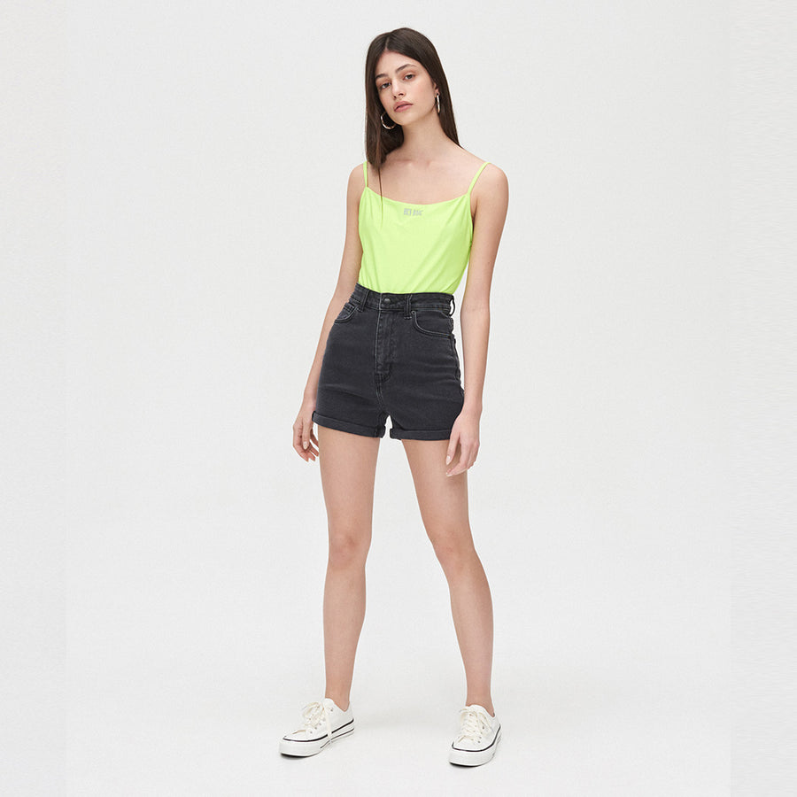 High Waist Mid Length Women  Jet block Short