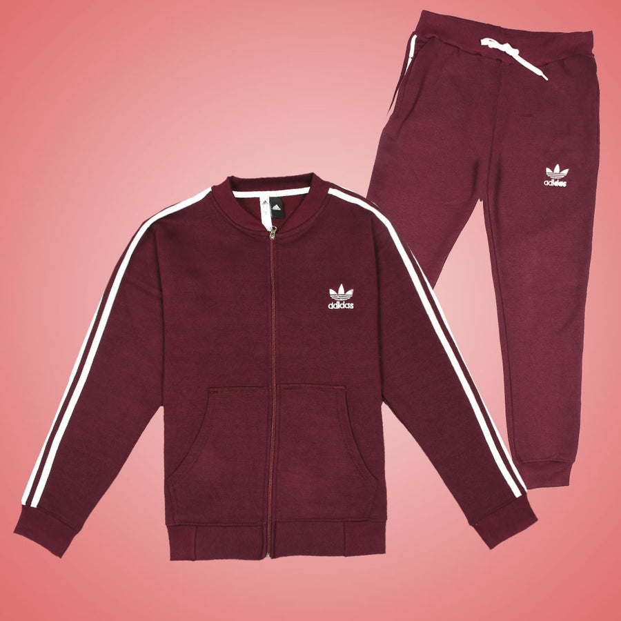 Wine 3 Stripes Heavy Fleece Track Suit