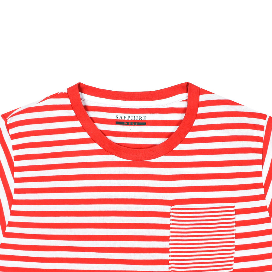 Women Breton Stripes Left Chest Pocket White Red T-Shirt
