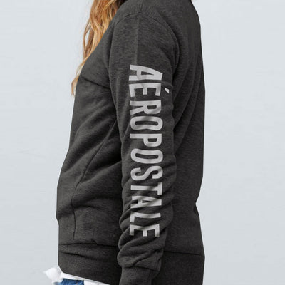 Women Front Embroidered Patch Charcoal Hoodie
