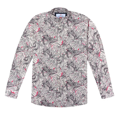Men's Cotton Linen Vintage Floral Print Shirt