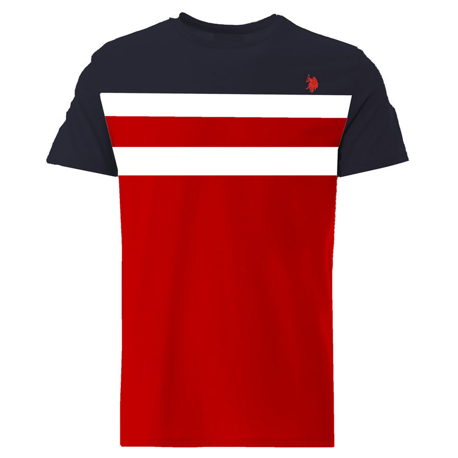 Aesthetics Color Block Panel Navy & Red Tee