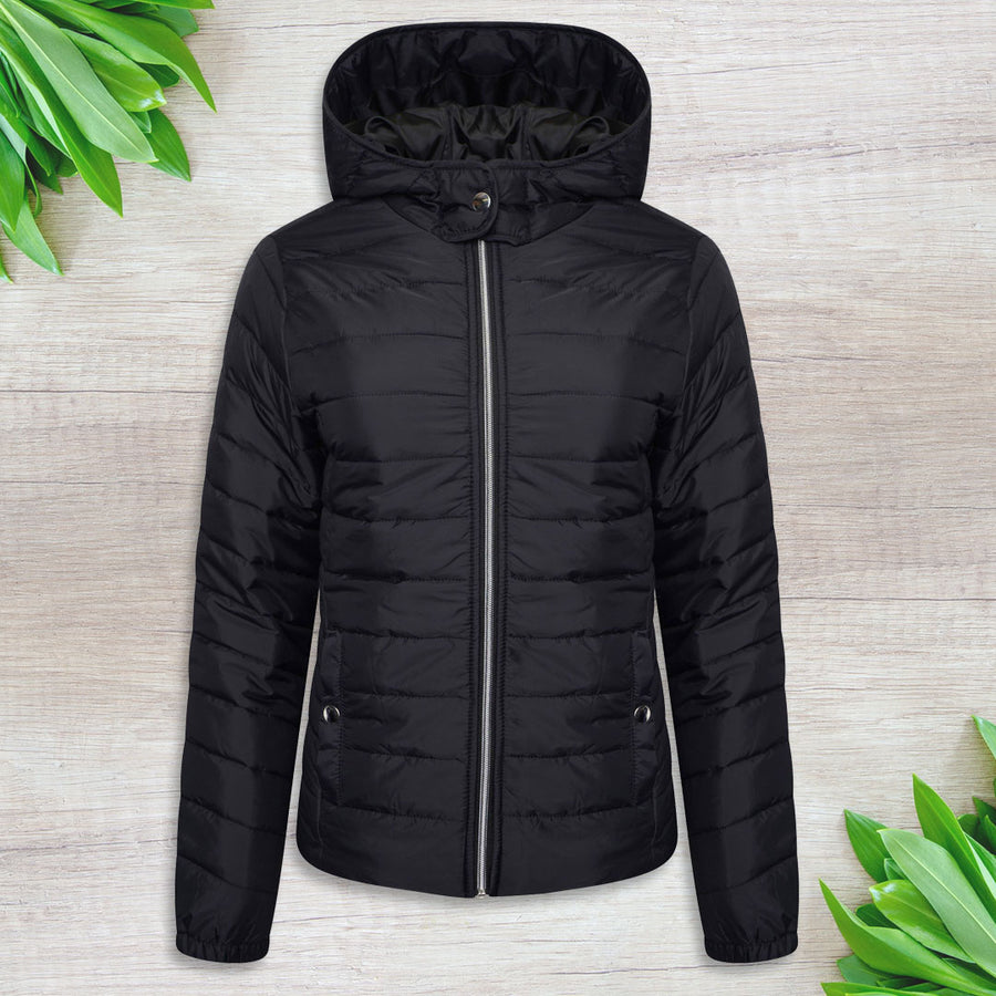 Women Black Quilted Jacket Winter