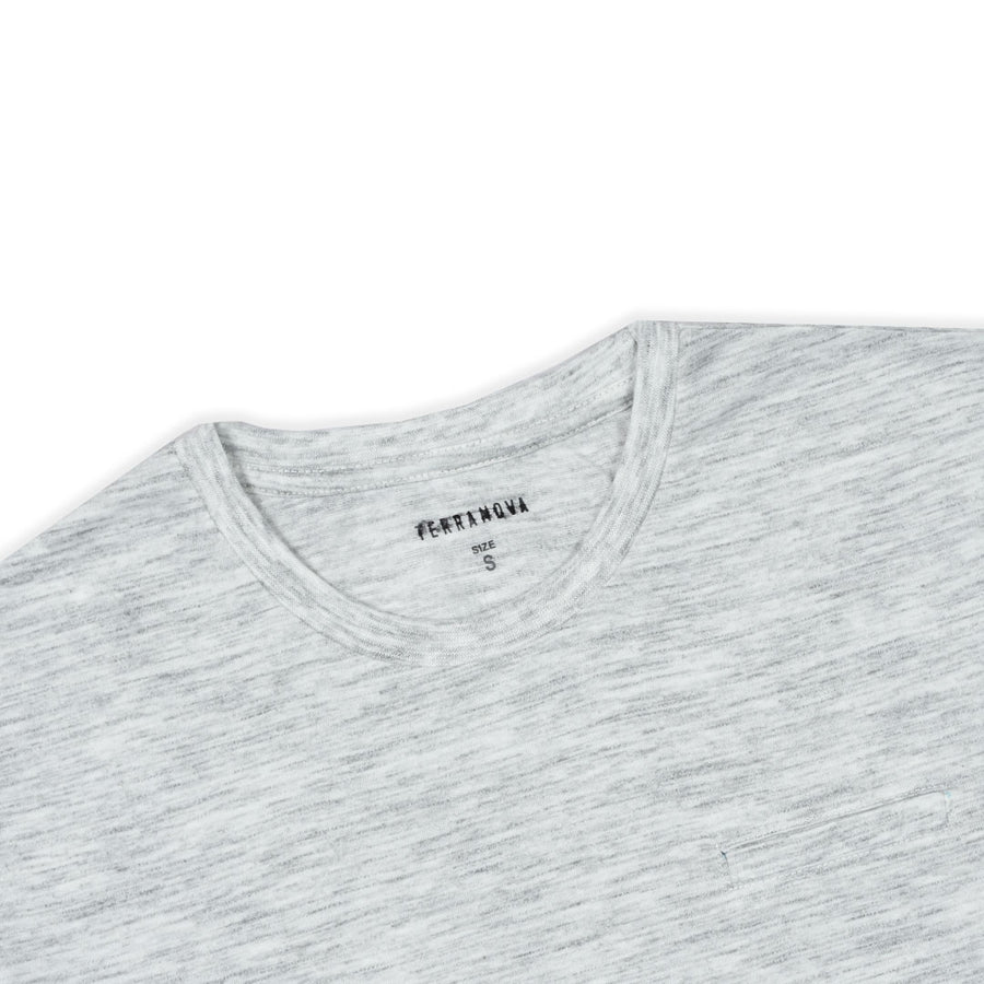SLUB WHITE FLEXIBLE SUMMER CREW NECK T-SHIRT WITH MINOR FAULT