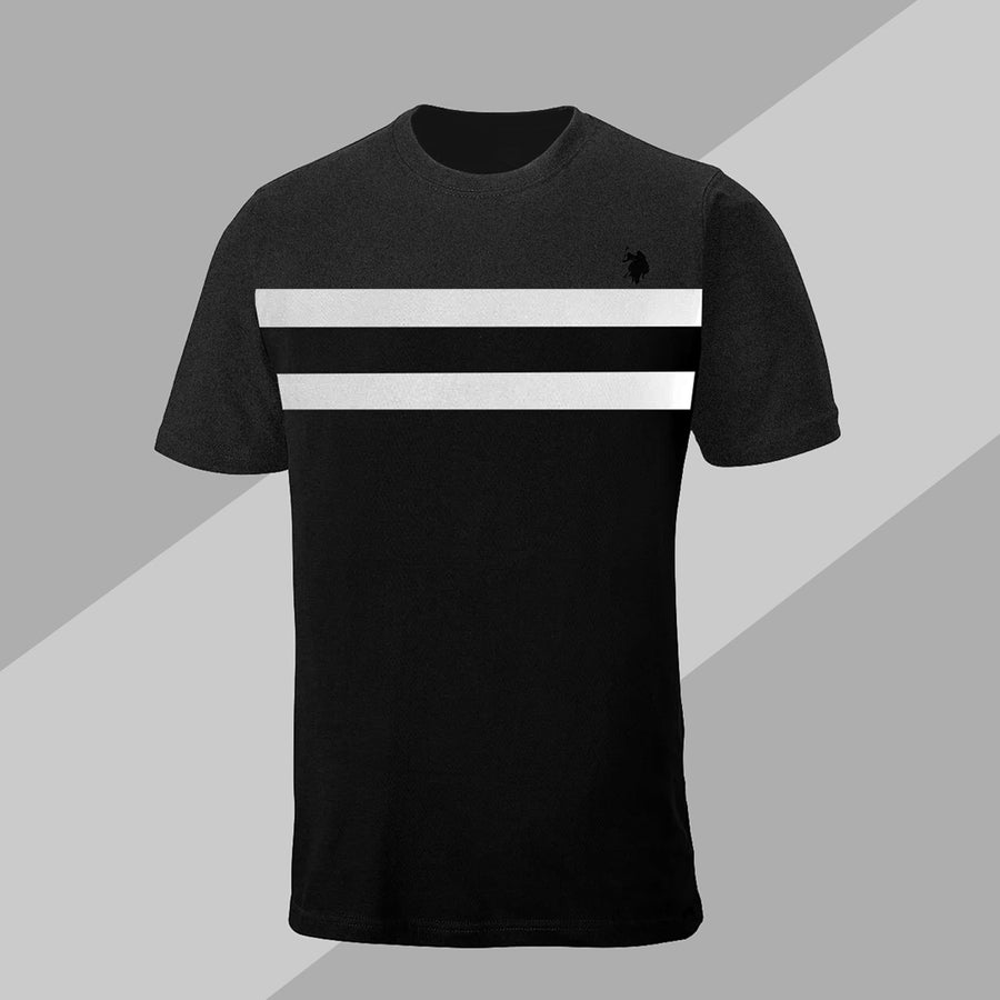 Aesthetics Color Block Panel Charcoal & Black Tee