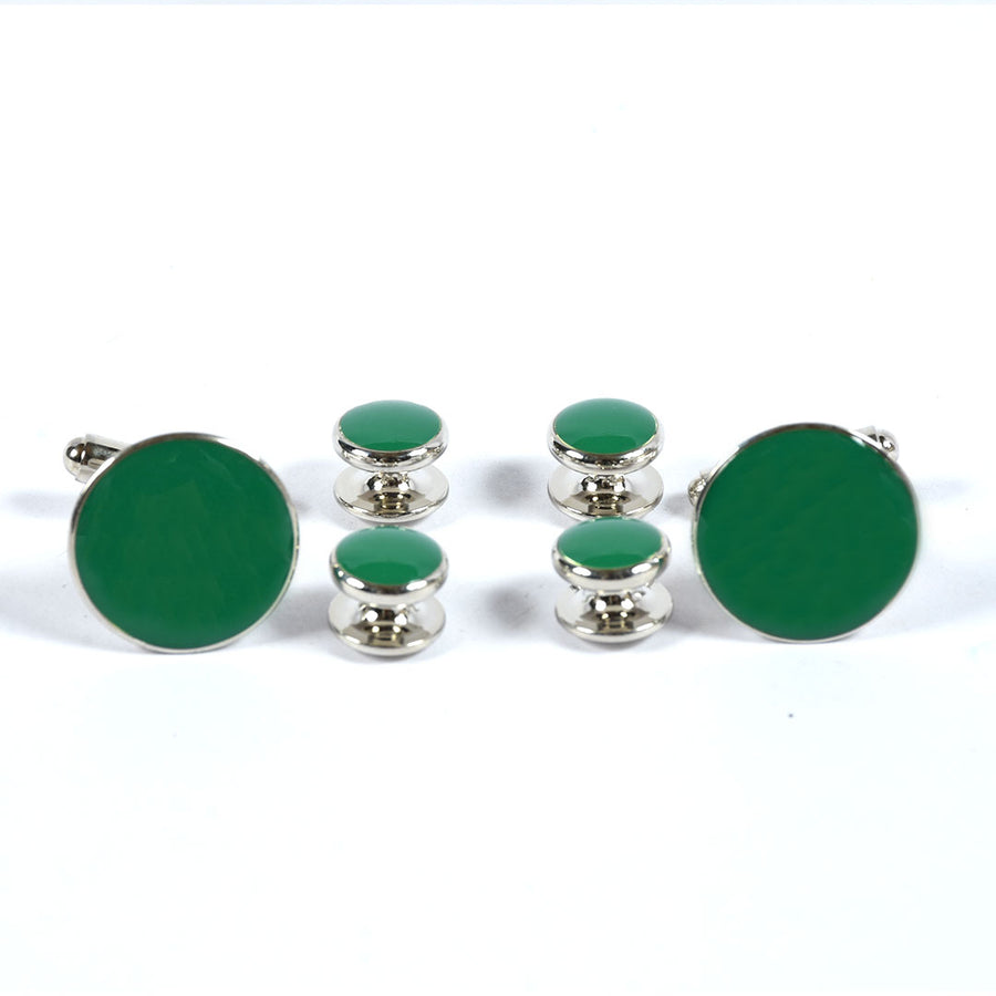 Green Stone Stylish Silver Coated Cuff links