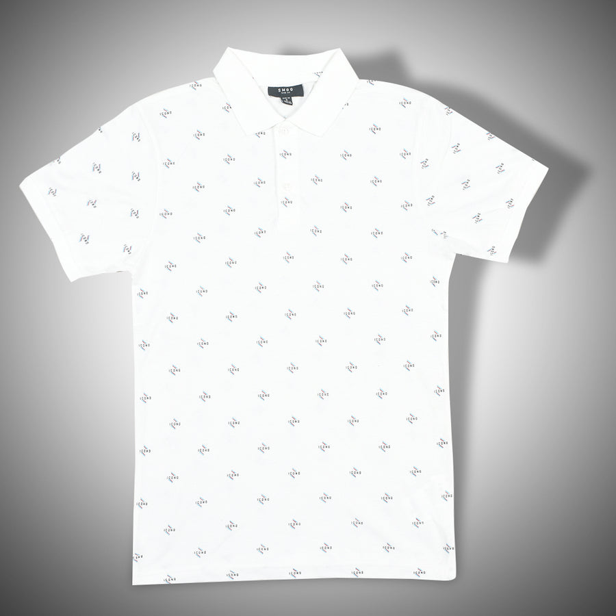White designer print cotton Polo