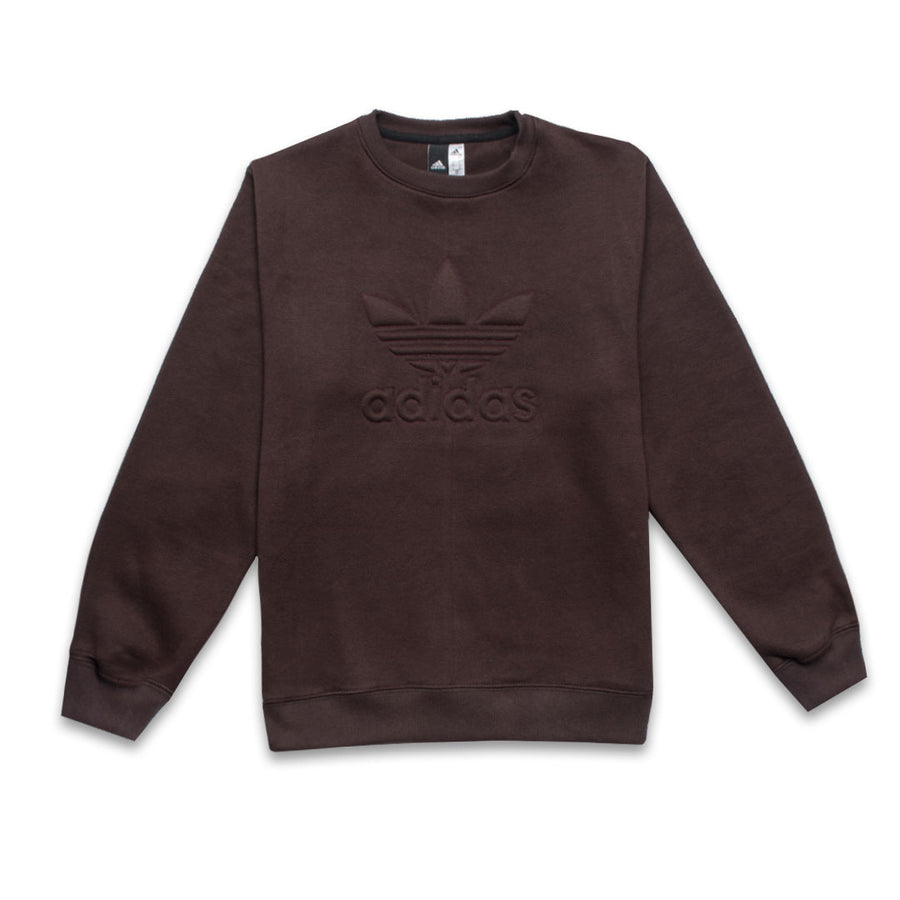 ADS Embossed Logo Crew Neck Sweatshirt in Dark Brown