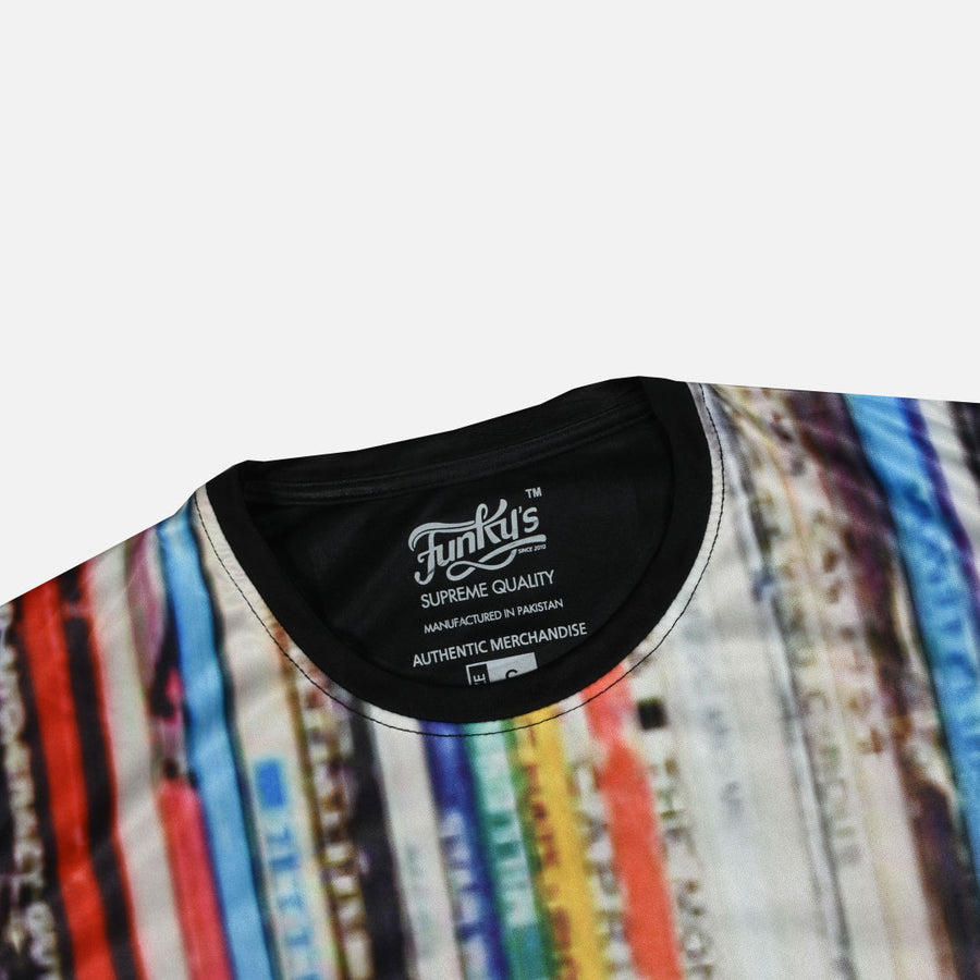 Cracked stripes pattern multi color tee