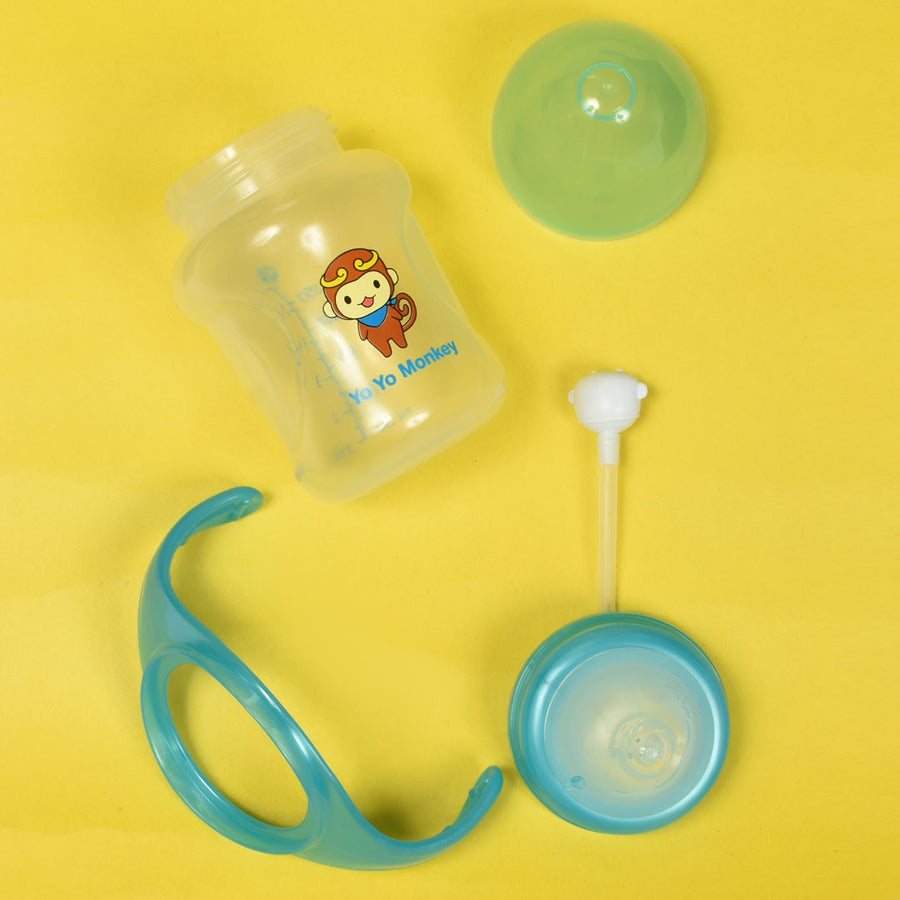 WIDE NECK SKY BLUE FEEDING BOTTTLE With Handle and straw (150ml /6oz)