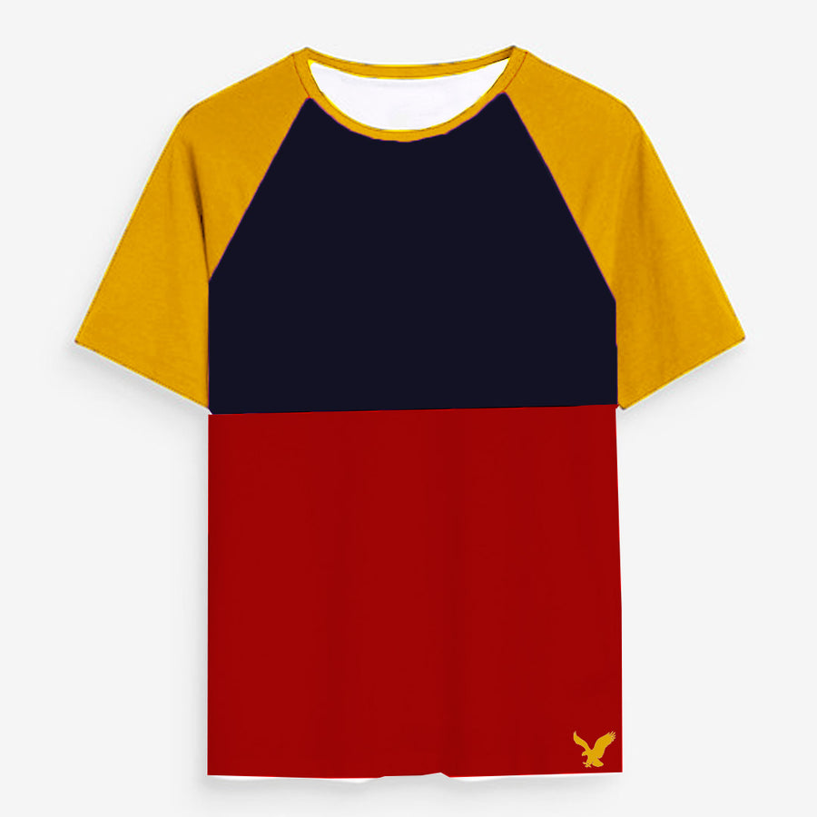 Color block Raglan sleeves Navy/Red Tees