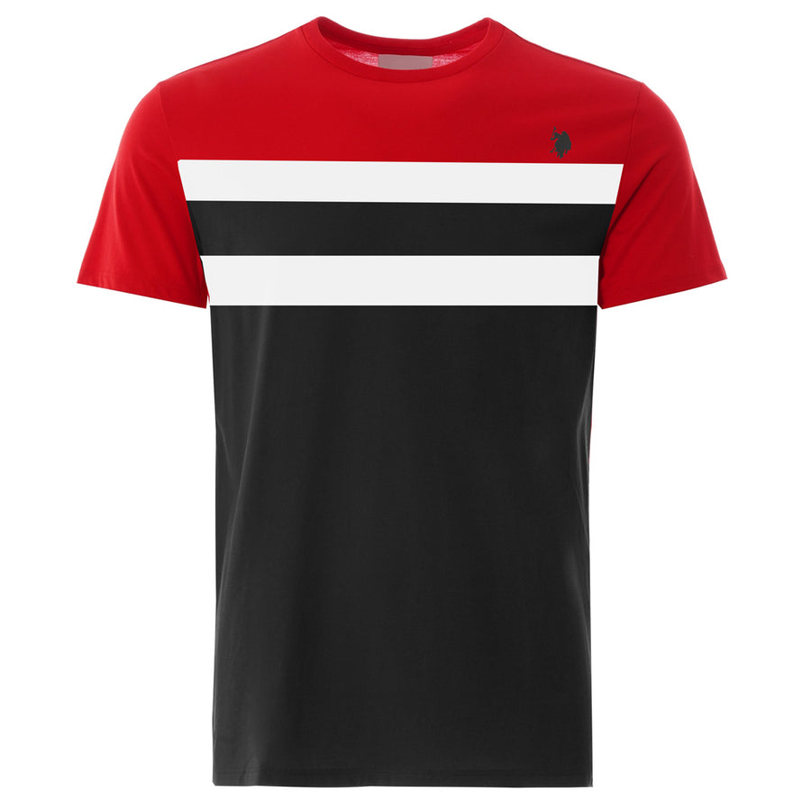 Aesthetics Color Block Panel Red & Black Tee