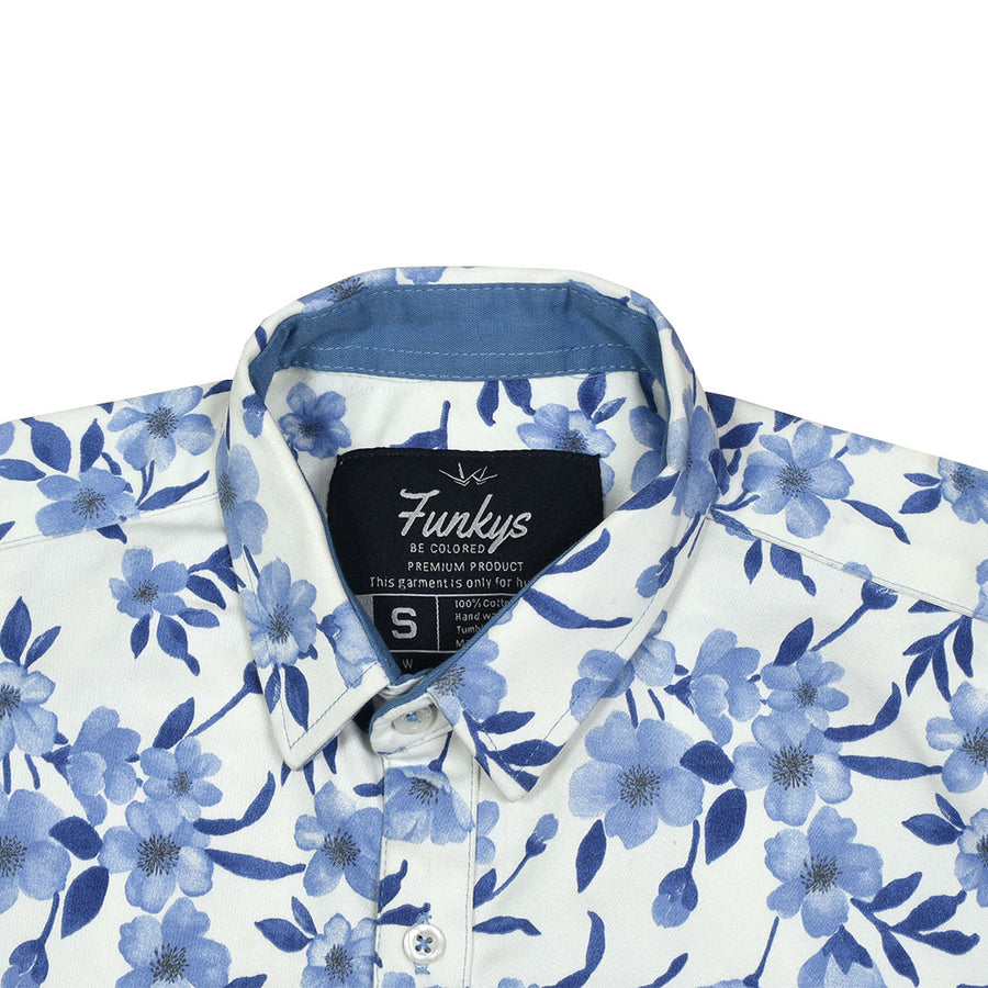 Funky's Floral Printed Denim Shirt