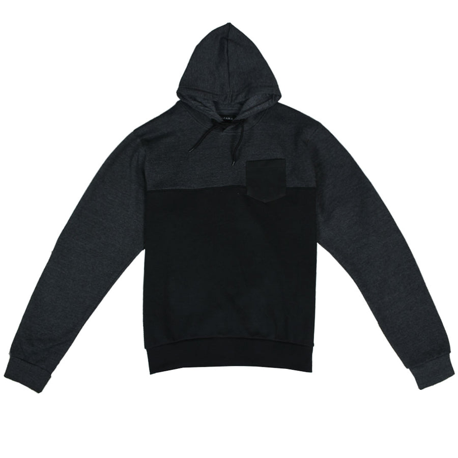 ZR Leather Pocket Color Block Black Hoodie
