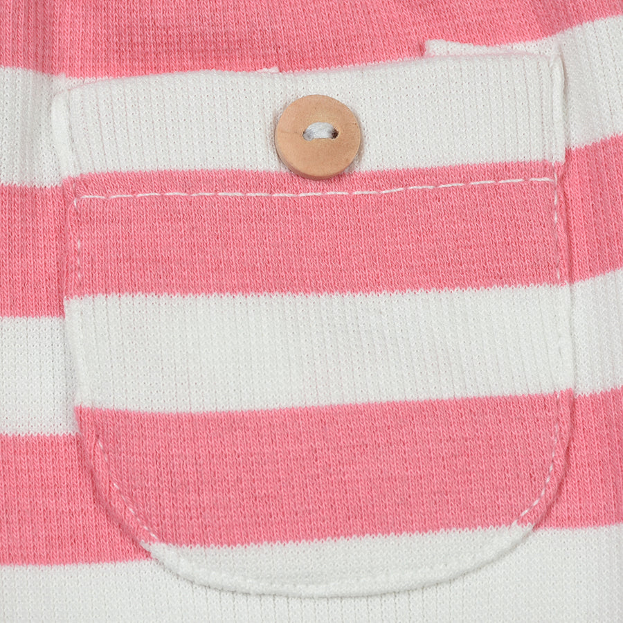 Baby Horizontal Stripe Front Pocket Comfy Baby Pink Trouser