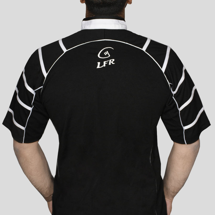 Black Rugby T-Shirt with Outstanding Shoulders