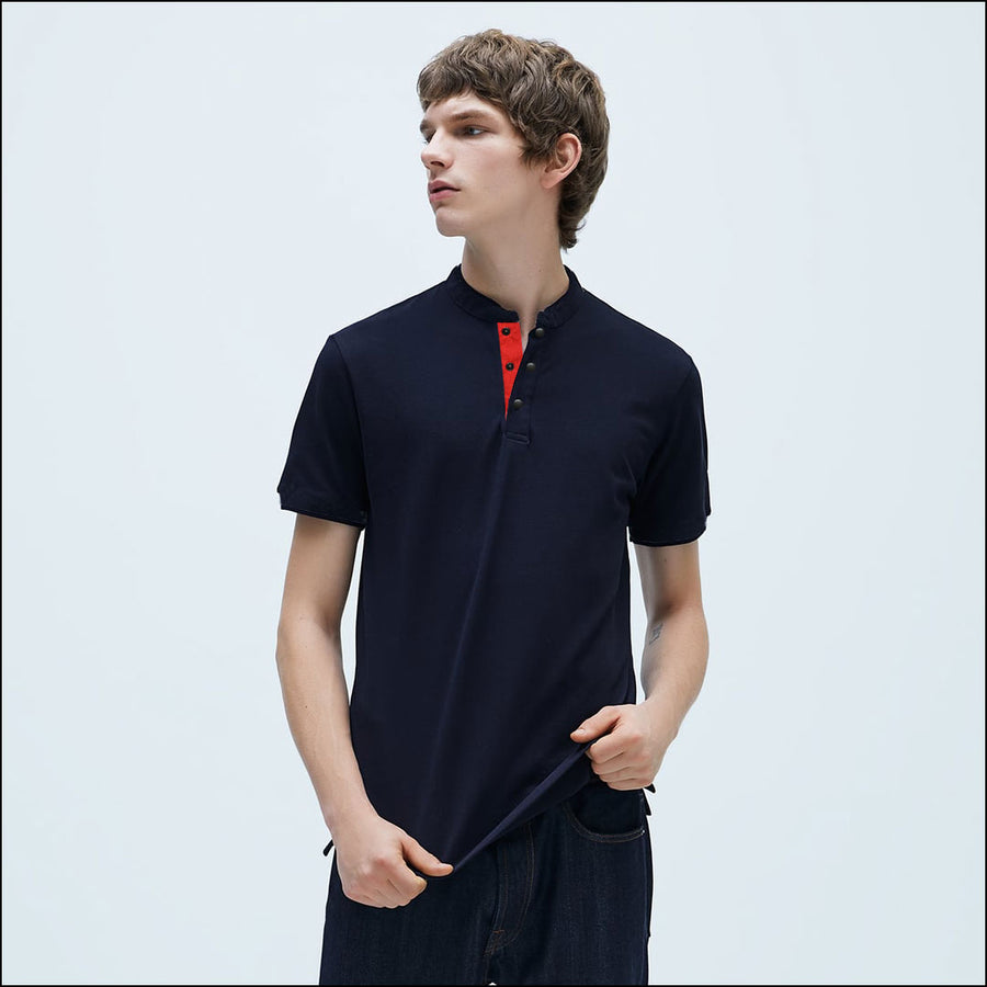 FUNKY'S ROUND NECK SNAP BUTTON POLO