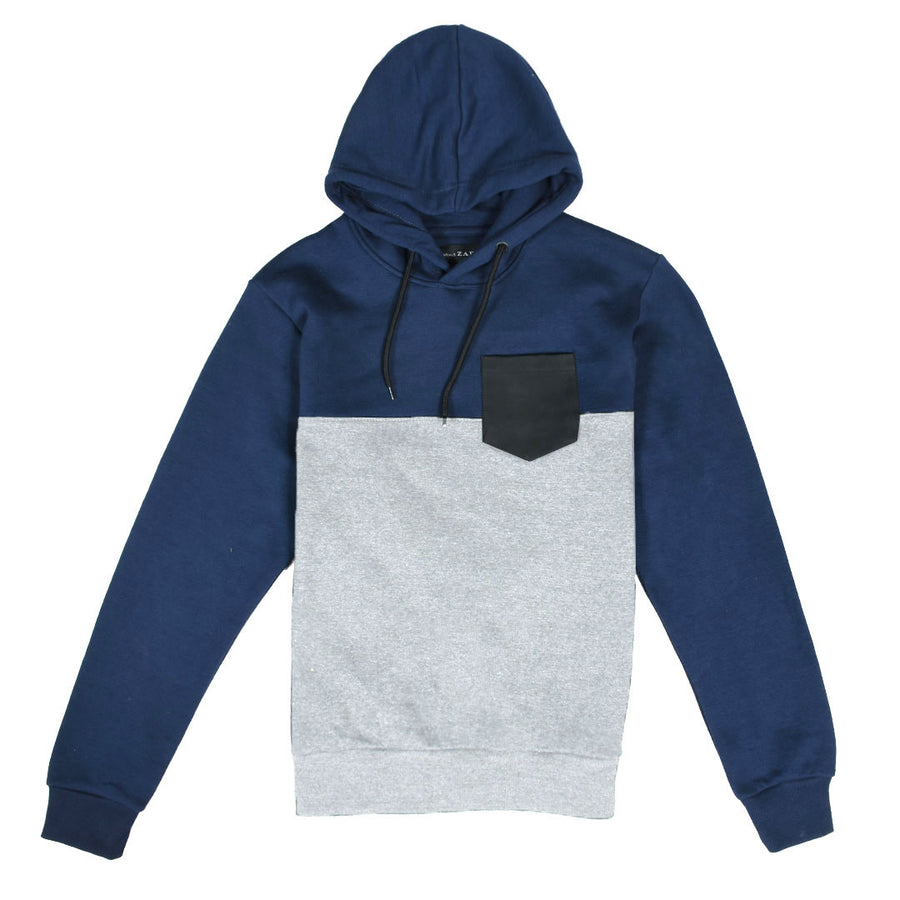 ZR Leather Pocket Color Block Grey Hoodie