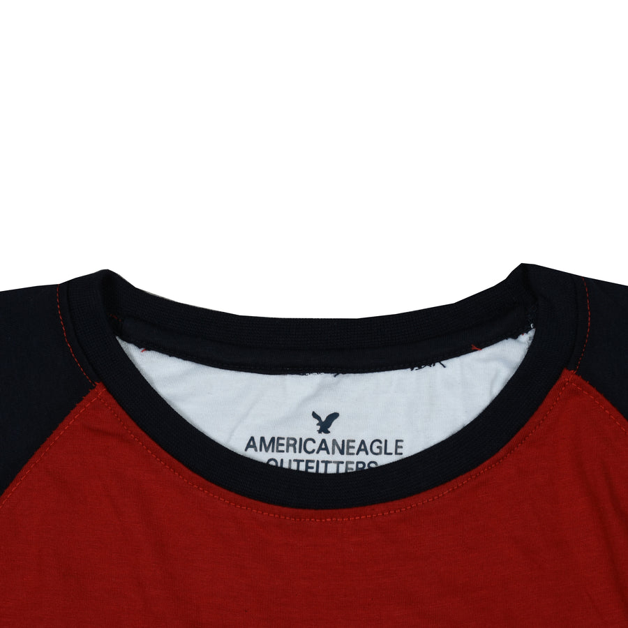 Color block Raglan sleeves Red/White Tees