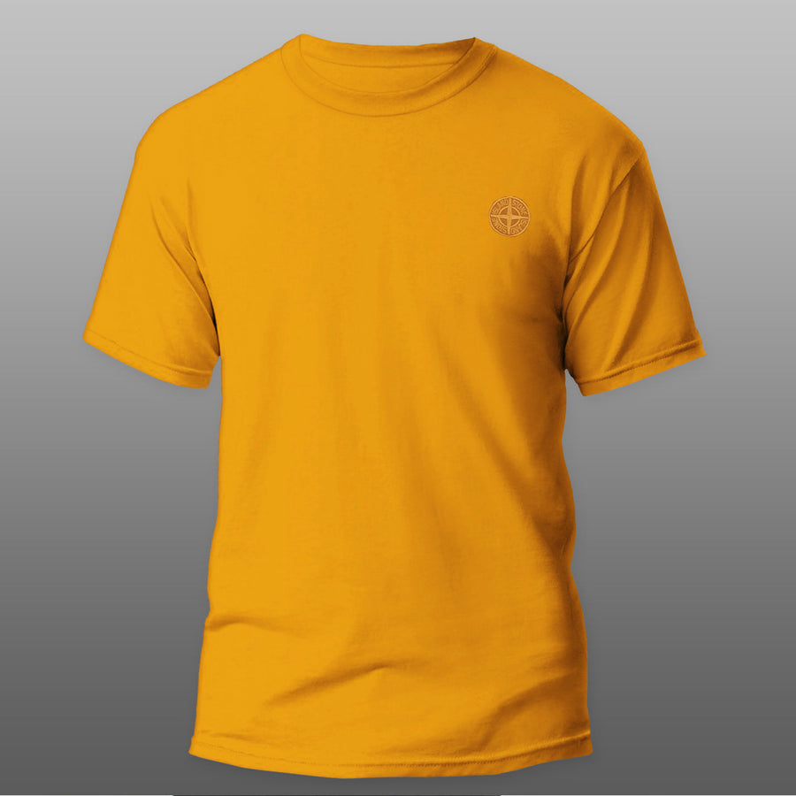 Yellow Round Neck Premium Logo Tee