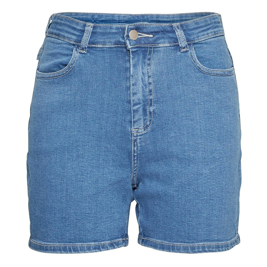 Mid Length High Waist Women Blue Denim Short