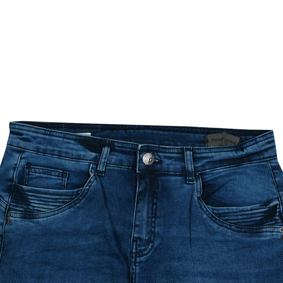 Mid Waist Three Quarter Designing Pocket Denim Pant