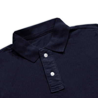 BOYS DARK NAVY PIQUE PLAIN POLO SHIRT WITH MINOR FAULT (8 YEARS TO 9 YEARS)