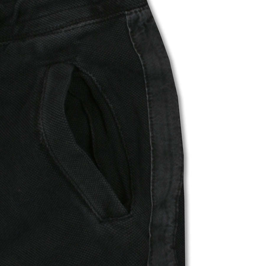 PIQUE DOUBLE TECH SLIM FIT BLACK JOGGER PANTS