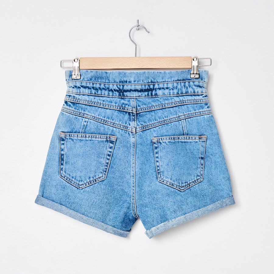 Mid Lenth High Waist Rolled Up Leg Denim Shorts W28-W32
