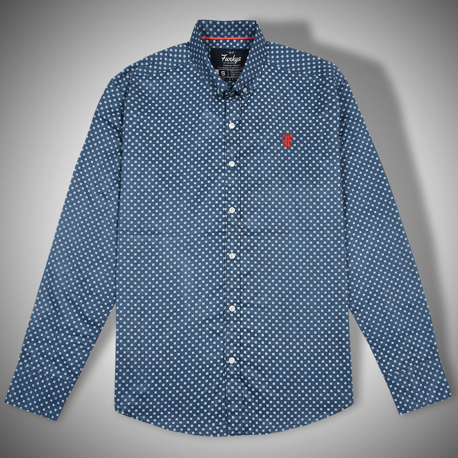 Funkys Navy Dotted Oxford button down shirt