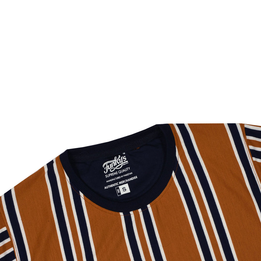 FUNKY'S DESIGNER STRIPE TRENDY TON BROWN Tee