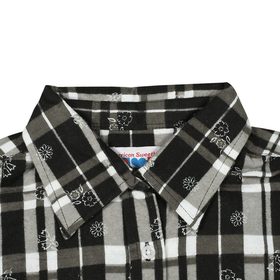 Women Flannel Black & Gray Checkered Daily Wear Shirt