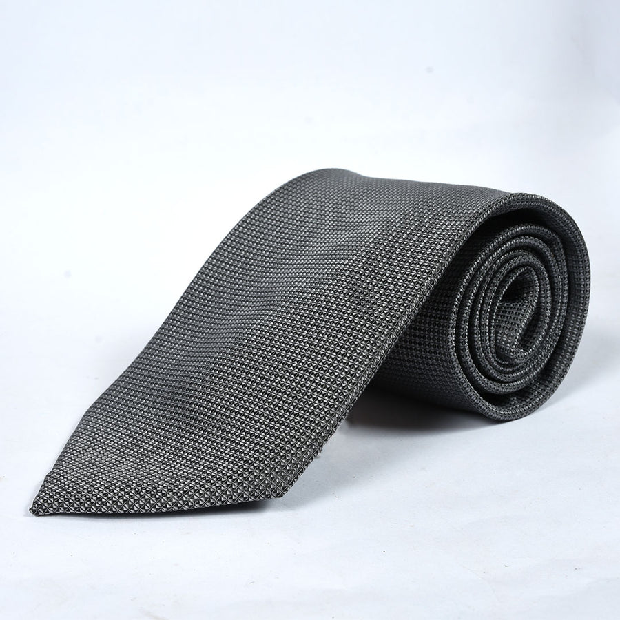 Micro Check Grey Silk Tie