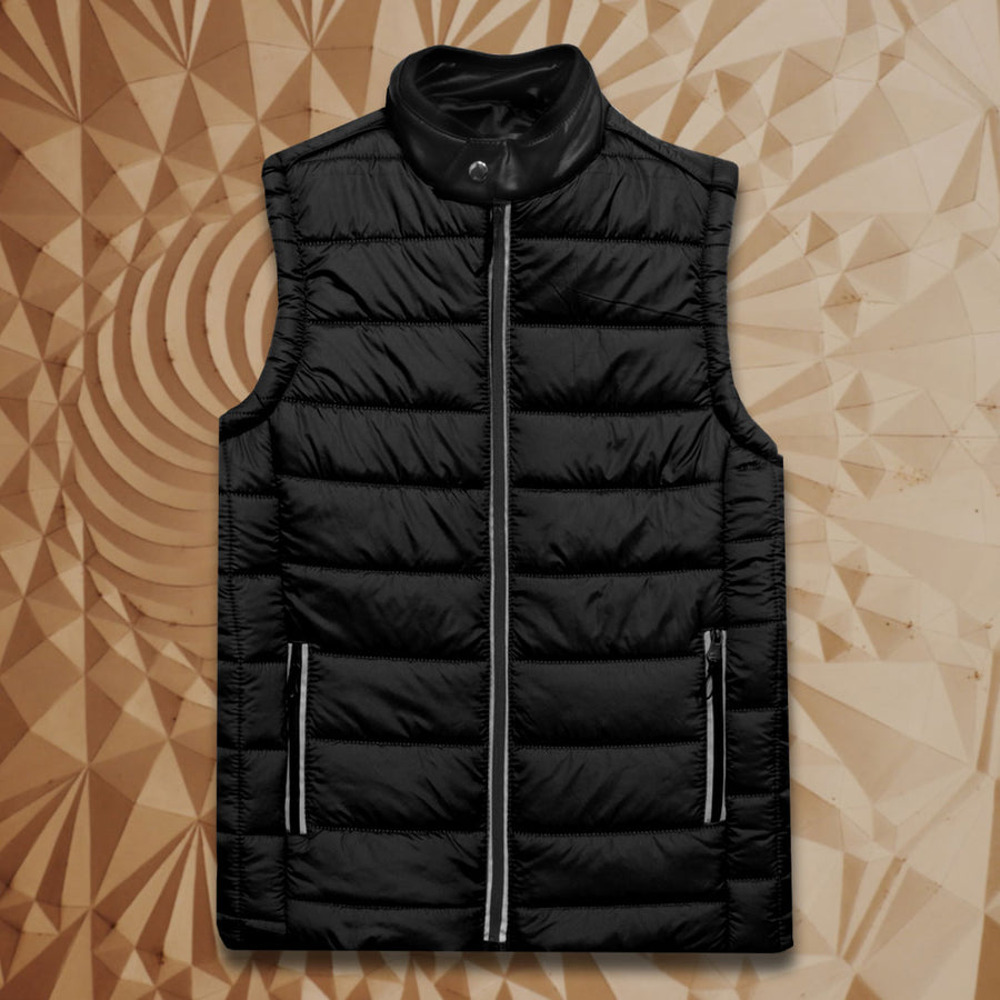 ZR Leather Mandarin Collar Gillet Jacket