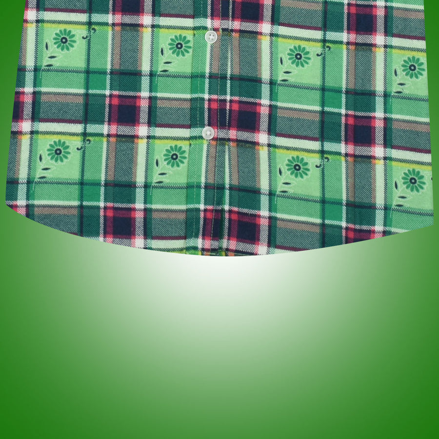 Women Flannel Printed  Green Flower  Daily Wear Shirt