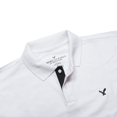 AE White Slim Fit Long Sleeves Polo Shirt