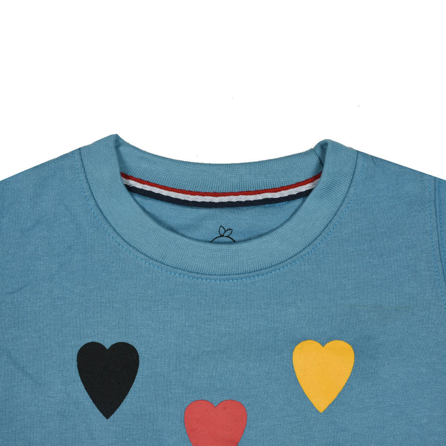 kid's Mini Color Heart Printed Zinc SweatShirt (1 YEARS to 12 YEARS)