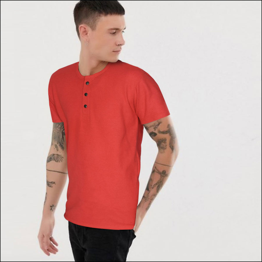 FUNKY'S Collarless ROUND NECK SNAP BUTTON POLO