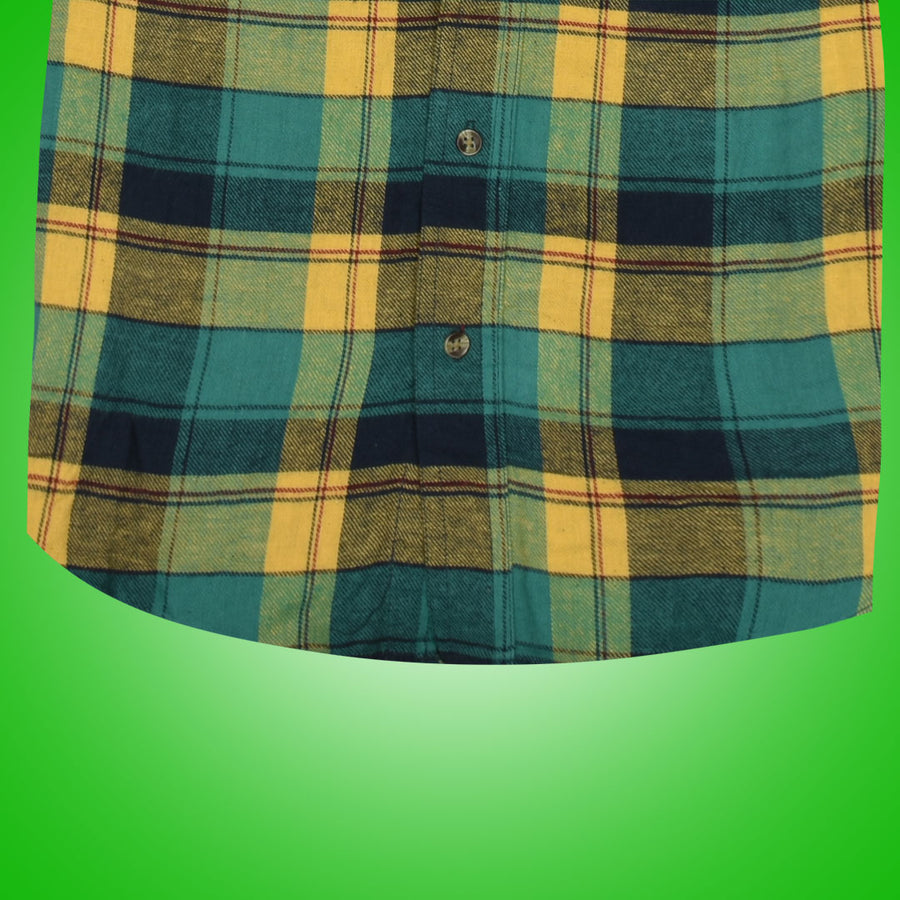 Women Flannel Yellow Checkered Daily Wear Shirt