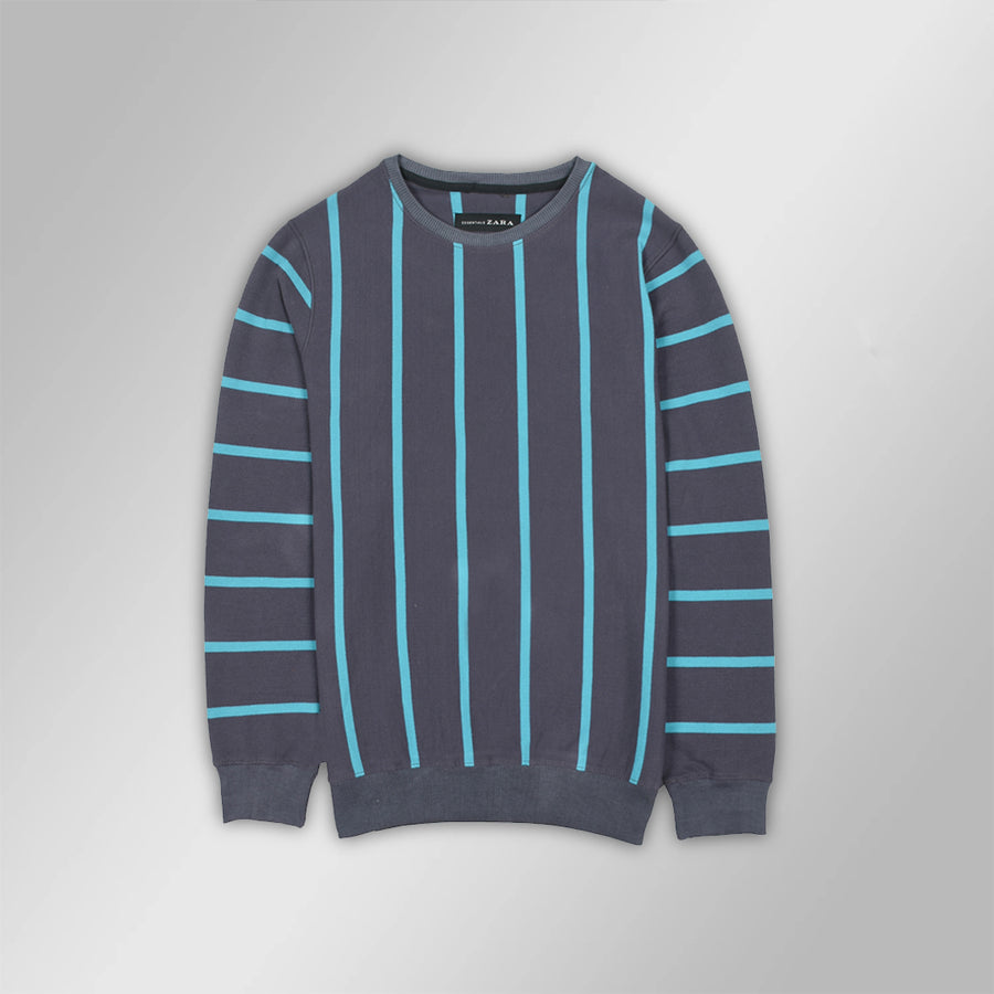 Ottoman Vertical Striped Blue Sweatshirt (WITH MINOR FAULT)