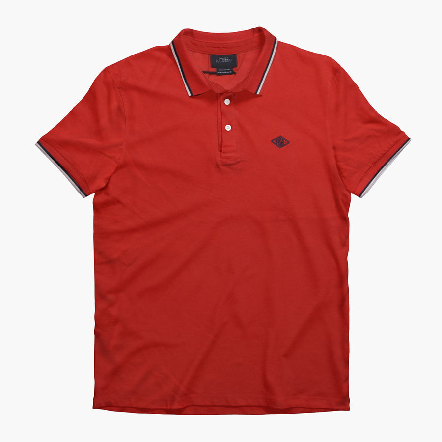 Tipped Collar Red Pique Polo Shirt