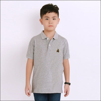BOYS TEDDY BEAR Embroidered LOGO GREY POLO SHIRT ( 1 YEARS TO 6 YEARS)
