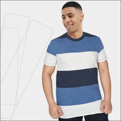 Yarn Dyed Contrast Blue Color Crew Neck Tee