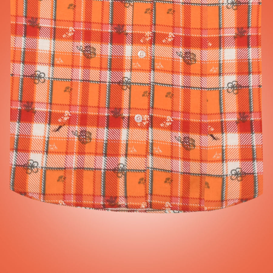 Women Flannel Orange Daily Wear Shirt