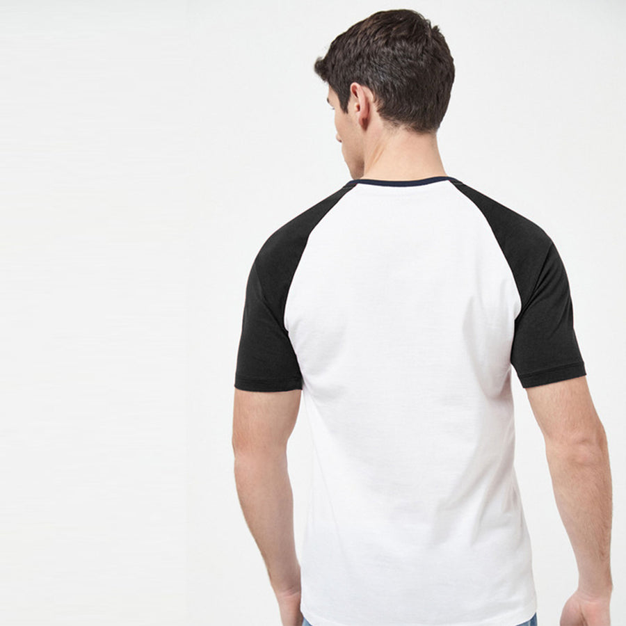 Color block Raglan sleeves Charcoal/White Tees
