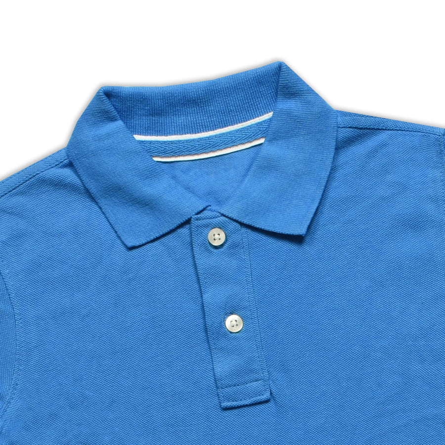 BOYS BLUE PIQUE CLASSIC POLO SHIRT (5 YEARS TO 12 YEARS)